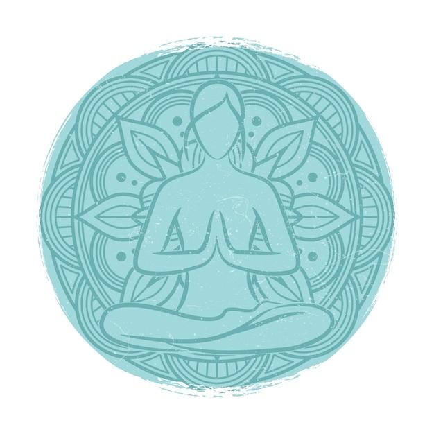 Yoga evenwicht vrouwelijke silhouet. bloemmandala en meditatievrouw Premium Vector