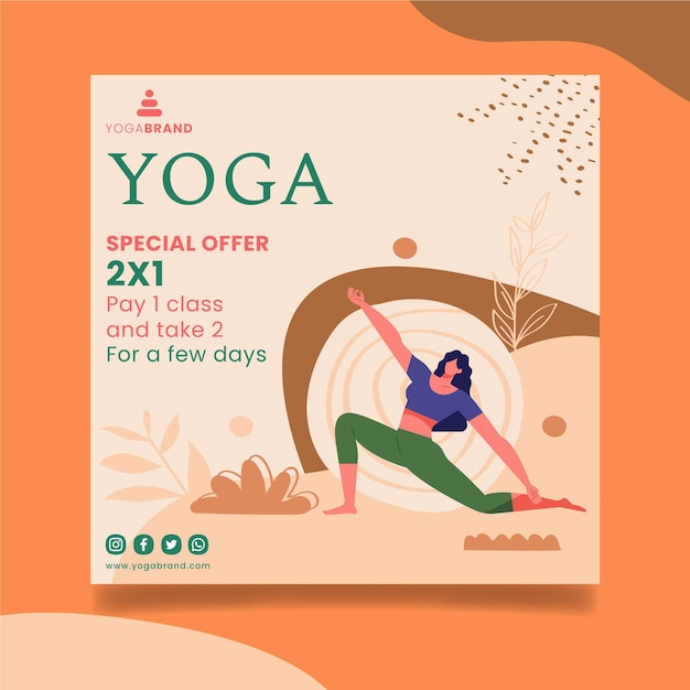 Yoga flyer sjabloon thema Gratis Vector