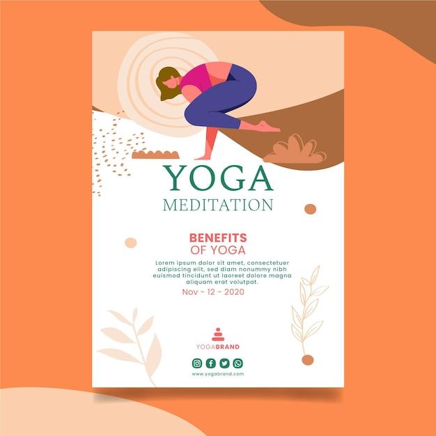Yoga folder sjabloon Gratis Vector