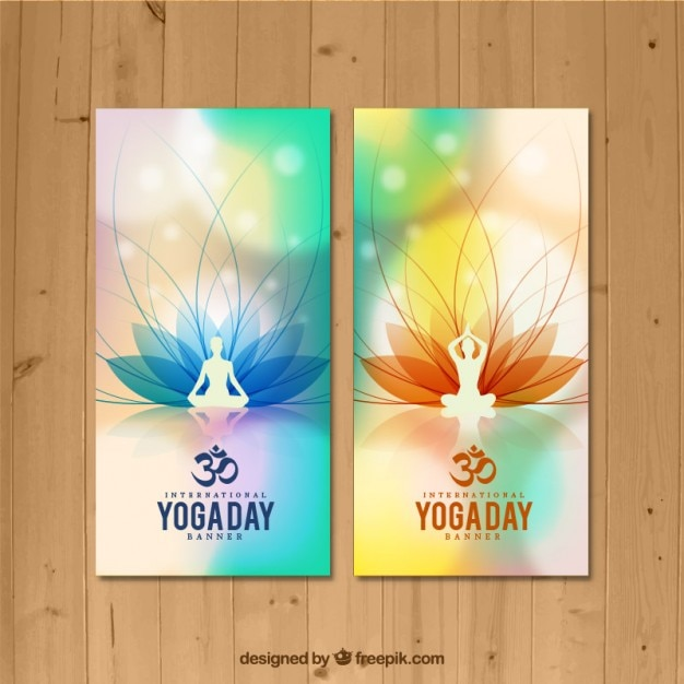 Yoga houdingen banners Gratis Vector