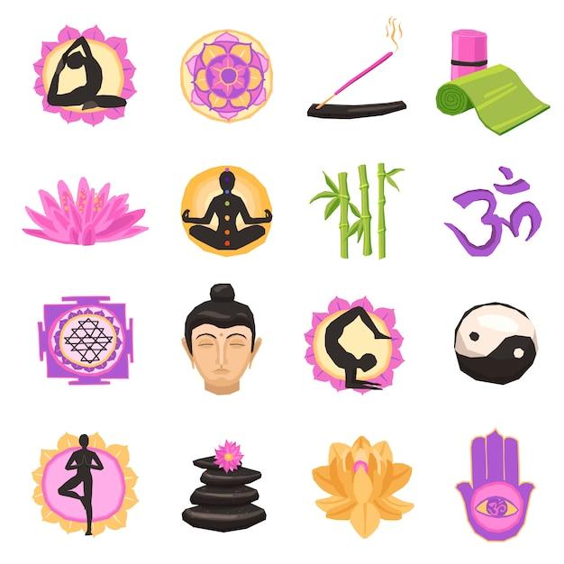 Yoga icons set Gratis Vector