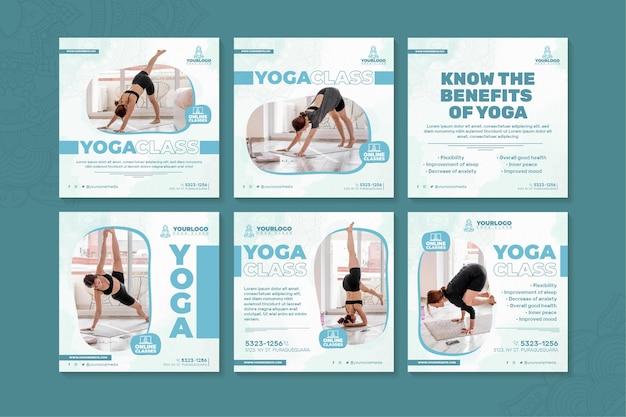 Yoga instagram-berichten Premium Vector