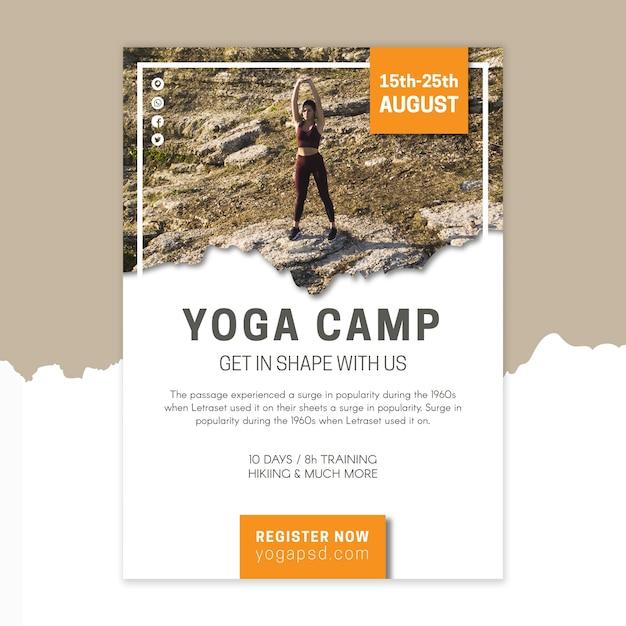 Yoga kamp poster sjabloon Premium Vector