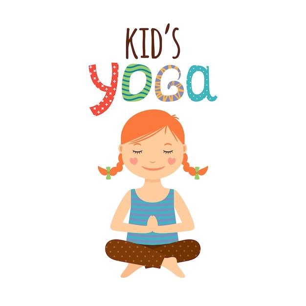 Yoga kinderen logo-ontwerp met meisje Premium Vector