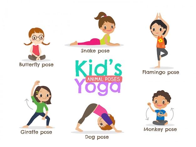 Yoga kinderen vormt vectorillustratie Premium Vector