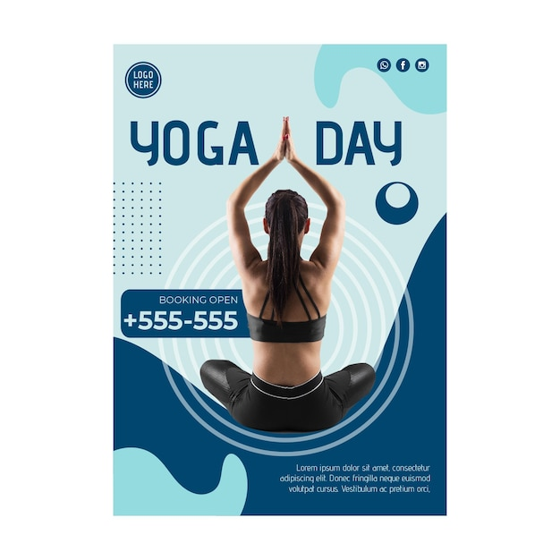 Yoga klasse folder sjabloon met foto Gratis Vector