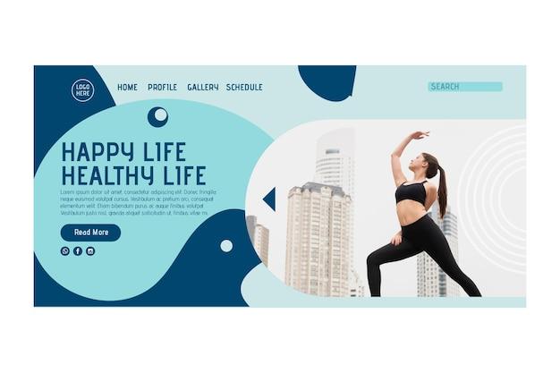 Yoga klasse startpagina sjabloon met foto Gratis Vector