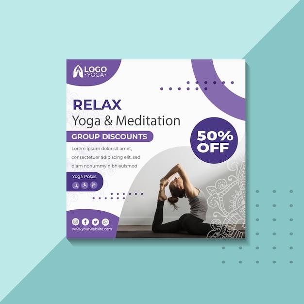 Yoga klasse vierkante sjabloon folder Premium Vector