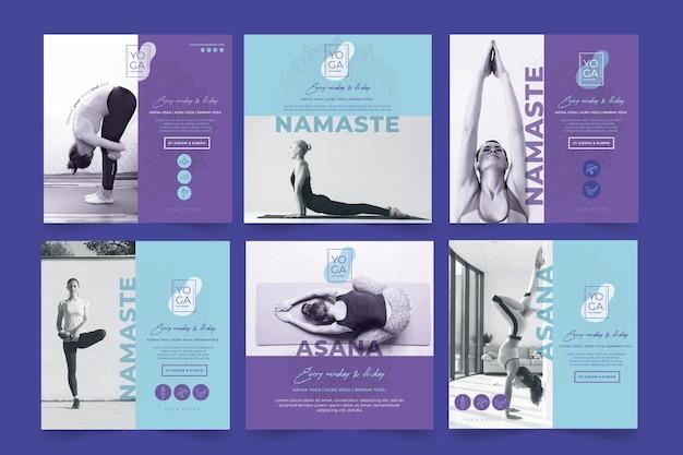 Yoga lessen instagram posts sjabloon Gratis Vector
