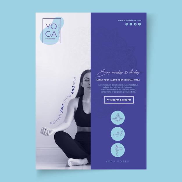 Yoga lessen poster sjabloon Premium Vector