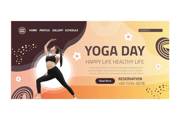Yoga lichaamsbalans bestemmingspagina Gratis Vector