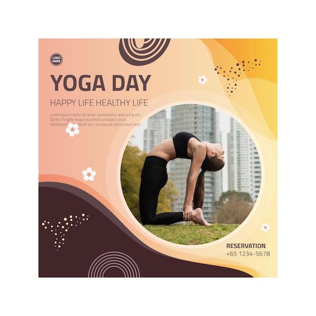 Yoga lichaamsbalans flyer vierkant Premium Vector