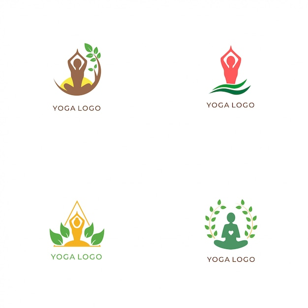 Yoga logo collectie Premium Vector