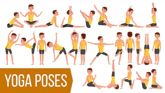 Yoga man vormt karakter. Premium Vector