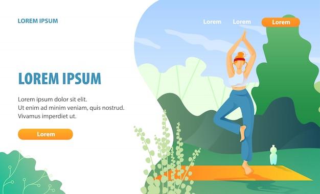 Yoga oefening en rust op de landingpagina van de broeikas Premium Vector