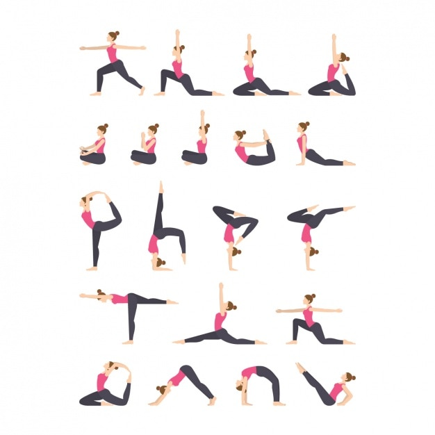 Yoga oefeningen iconen collectie Gratis Vector