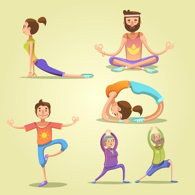 Yoga retro cartoon set Gratis Vector