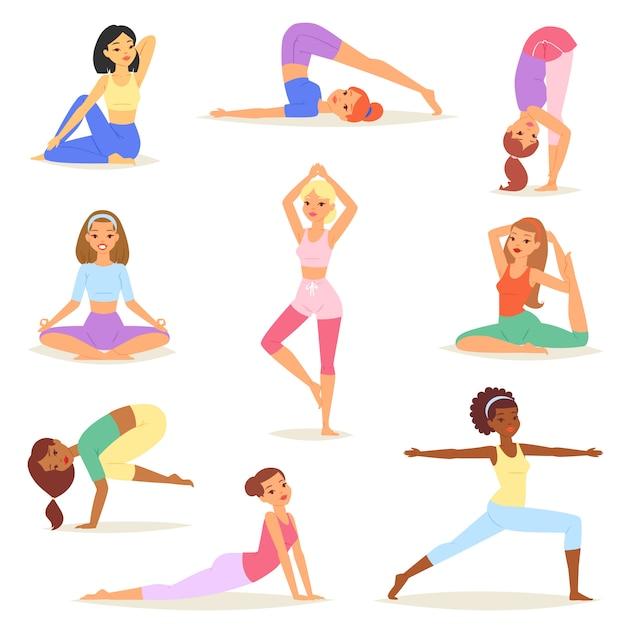 Yoga vrouw vector jonge vrouwen yogi karakter opleiding flexibele oefening pose illustratie set van gezonde meisjes levensstijl training met meditatie evenwicht ontspanning geïsoleerd Premium Vector