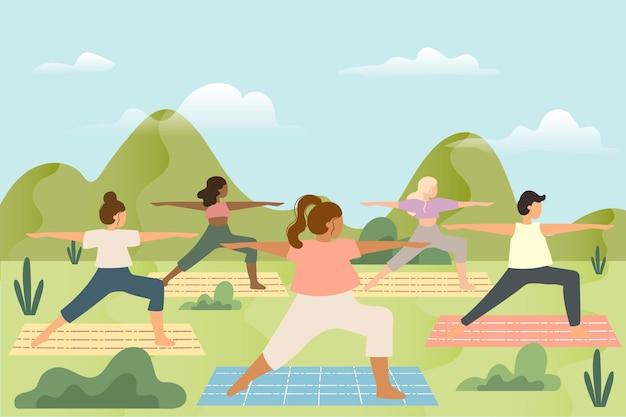 Yogales in openlucht met matten Gratis Vector