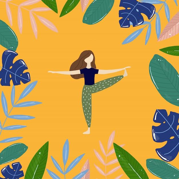 Yogameisje en tropische bladeren Premium Vector