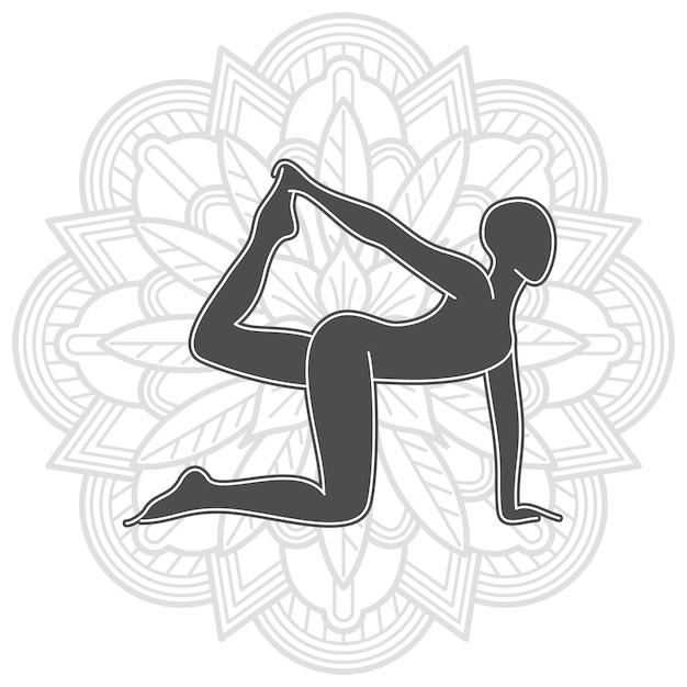 Yogatraining met mandala-ontwerp. vrouwelijke pilates silhouet Premium Vector
