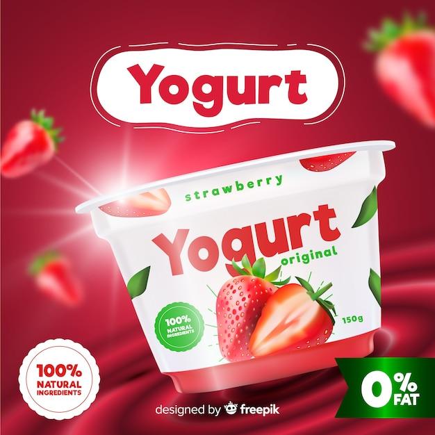 Yoghurt-advertentie Gratis Vector