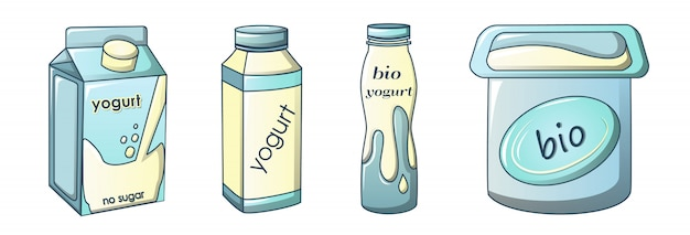 Yoghurt pictogrammen instellen, cartoon stijl Premium Vector