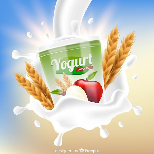 Yoghurtmerk op abstracte achtergrond Gratis Vector