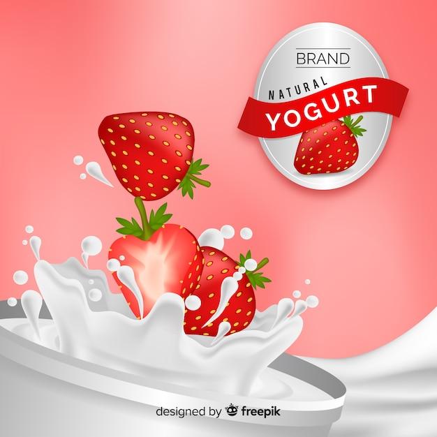Yoghurtreclame met realistisch ontwerp Gratis Vector