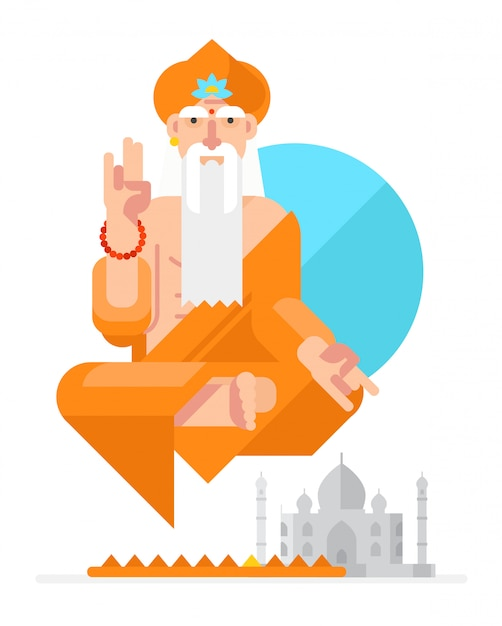 Yogi in de stijl van de cartoon. vector. Premium Vector