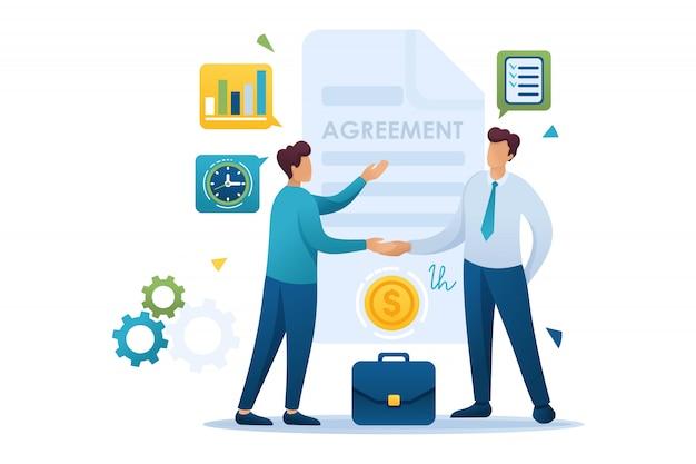 Young businessmen-overeenkomstpartners, schema's voor omzetgroei. vlak karakter. concept voor webdesign Premium Vector