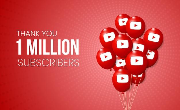 Youtube 3d ballonnencollectie voor presentatie van banner- en mijlpaalprestaties Premium Vector