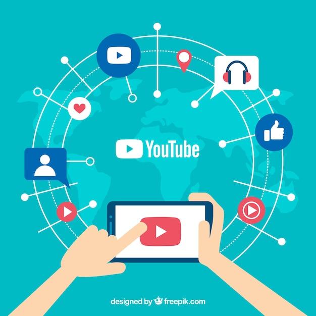 Youtube-speler in apparaat met plat ontwerp Gratis Vector