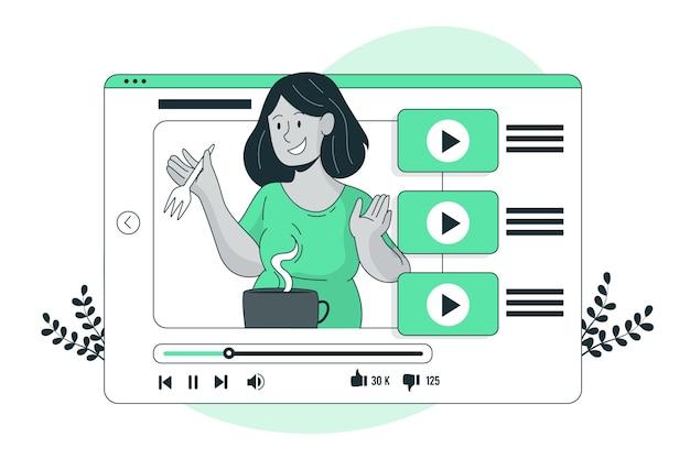 Youtube tutorial concept illustratie Gratis Vector