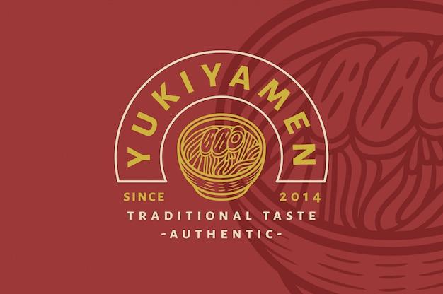 Yukiyamen - traditiona taste ramen - vintage logo Premium Vector