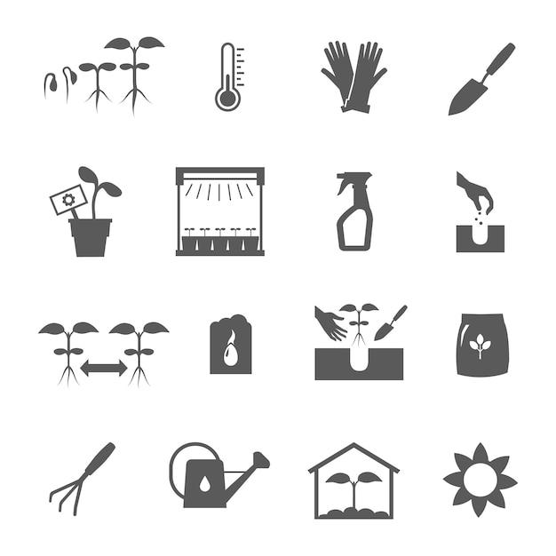 Zaailing zwart-witte pictogrammen geplaatst vlak geïsoleerde vectorillustratie Gratis Vector