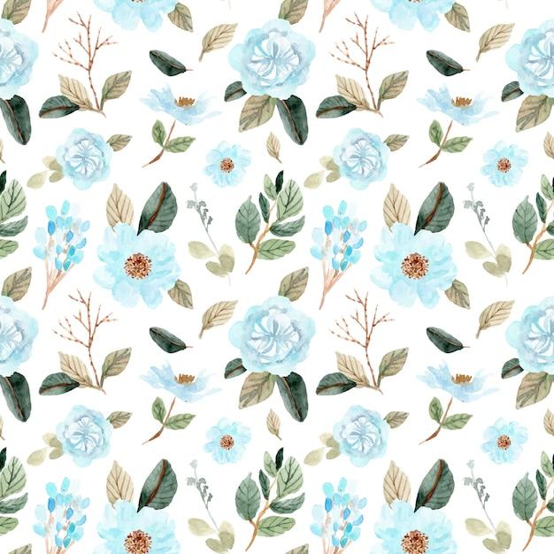 Zacht blauw groen bloem aquarel naadloze patroon Premium Vector