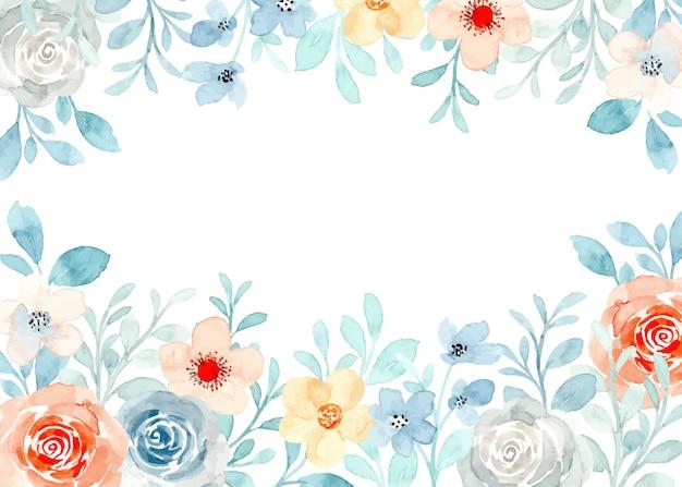 Zacht bloemenkader met waterverf Premium Vector