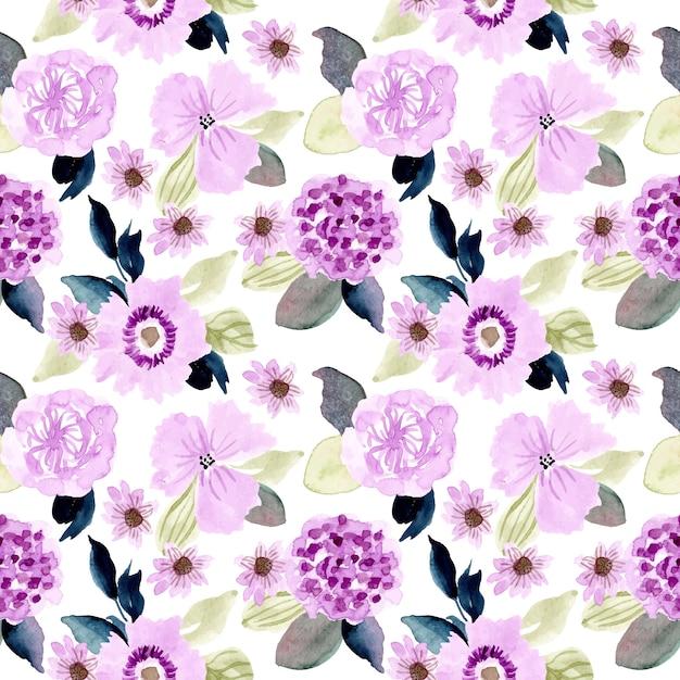 Zacht paars bloemenwaterverf naadloos patroon Premium Vector