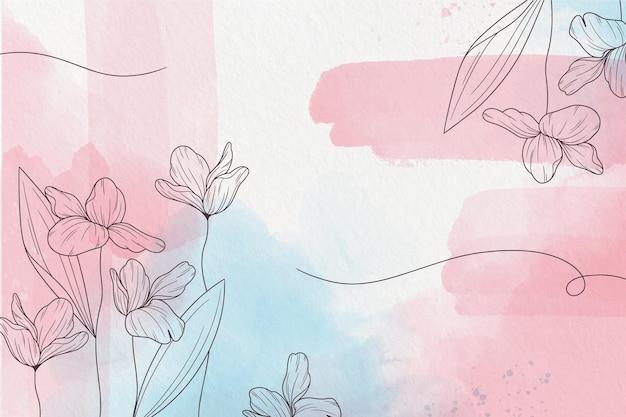Zacht pastel behang met bloemen Premium Vector