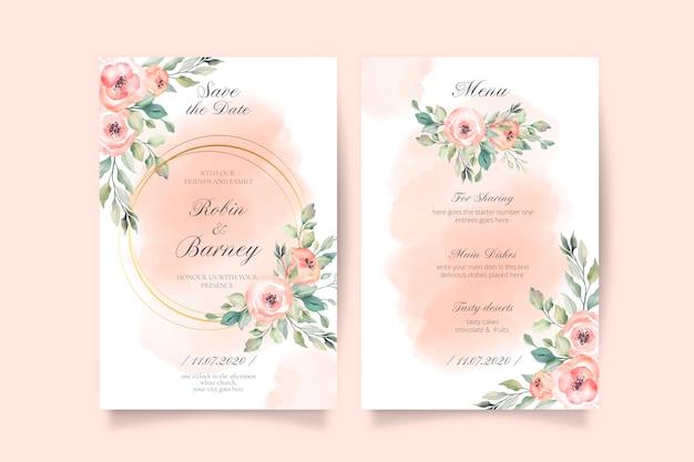 Zacht roze bruiloft uitnodiging en menusjabloon Gratis Vector