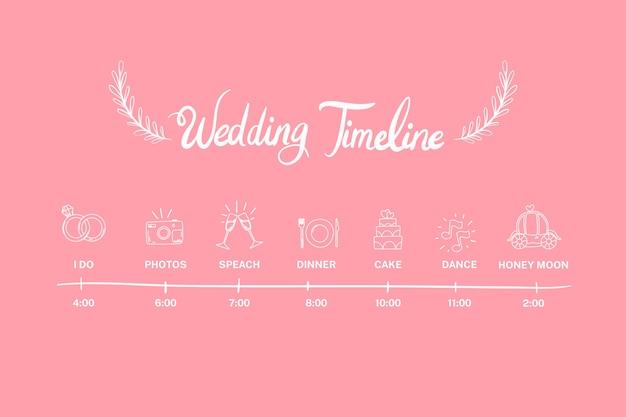 Zacht roze hand getrokken bruiloft tijdlijn Gratis Vector