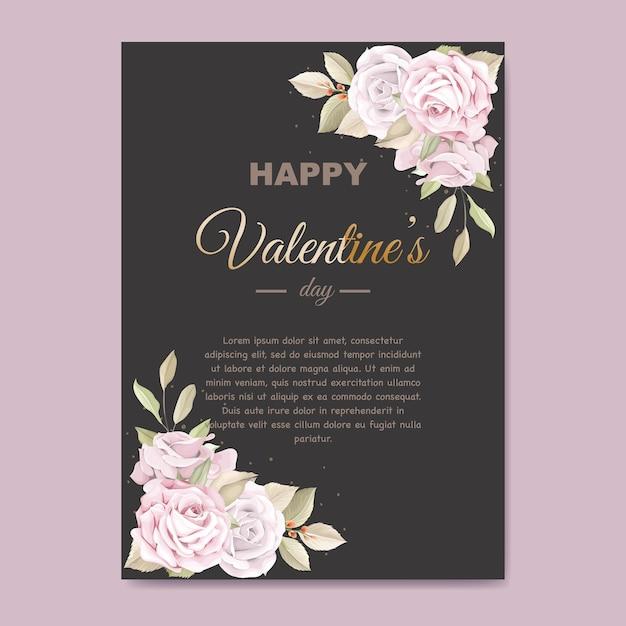 Zacht roze valentijnsdag wenskaart Premium Vector