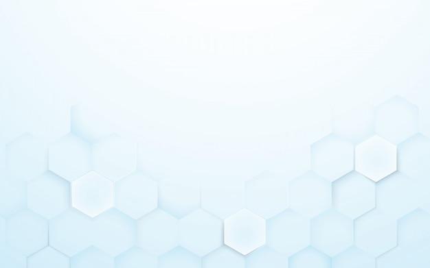 Zachte blauwe en witte 3d zeshoeken textuur achtergrond Premium Vector