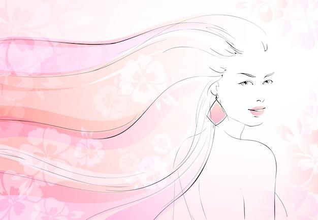 Zachte bloei achtergrond met jong meisje en lange golvende haren vector illustratie Gratis Vector