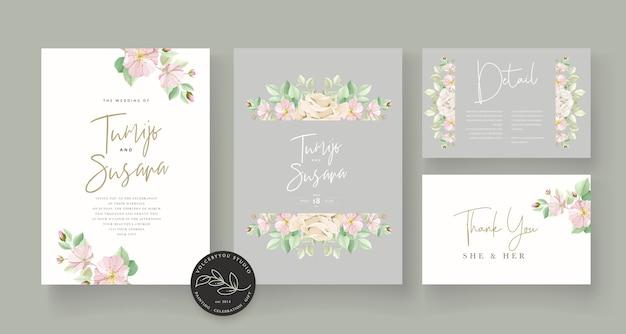 Zachte groene bloemen bruiloft kaartenset Gratis Vector