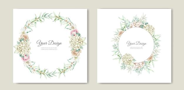 Zachte groene bloemen bruiloft uitnodiging kaartenset Gratis Vector