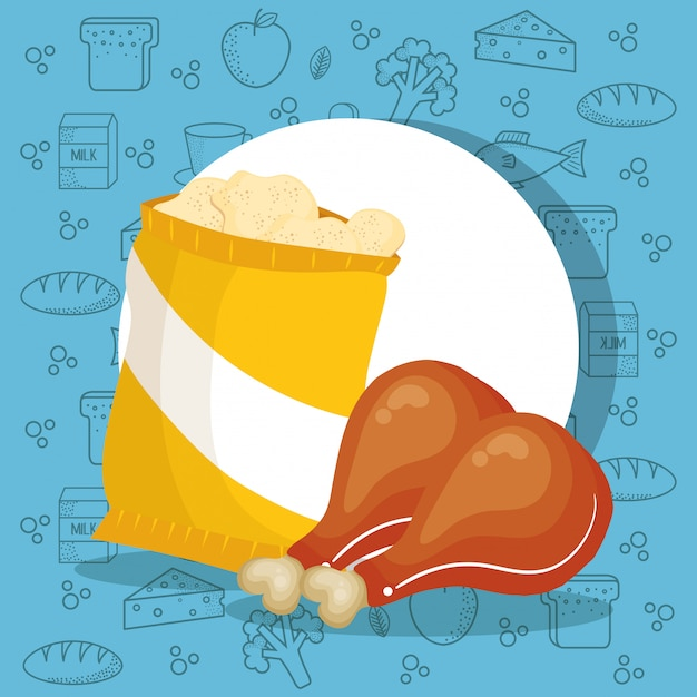 Zak met kip en aardappelen Gratis Vector