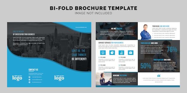 Zakelijk bi-fold brochure template Premium Vector