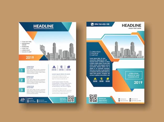 Zakelijk boek leaflet cover ontwerp in a4-tijdschriften Premium Vector